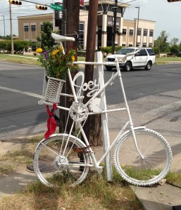 Joey Jello Ghost Bike Memorial at the intersection of Pleasant Valley Rd and W Cesar Chavez (site of accident)